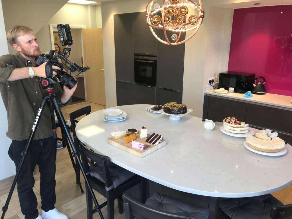 Behind the scenes filming a company video